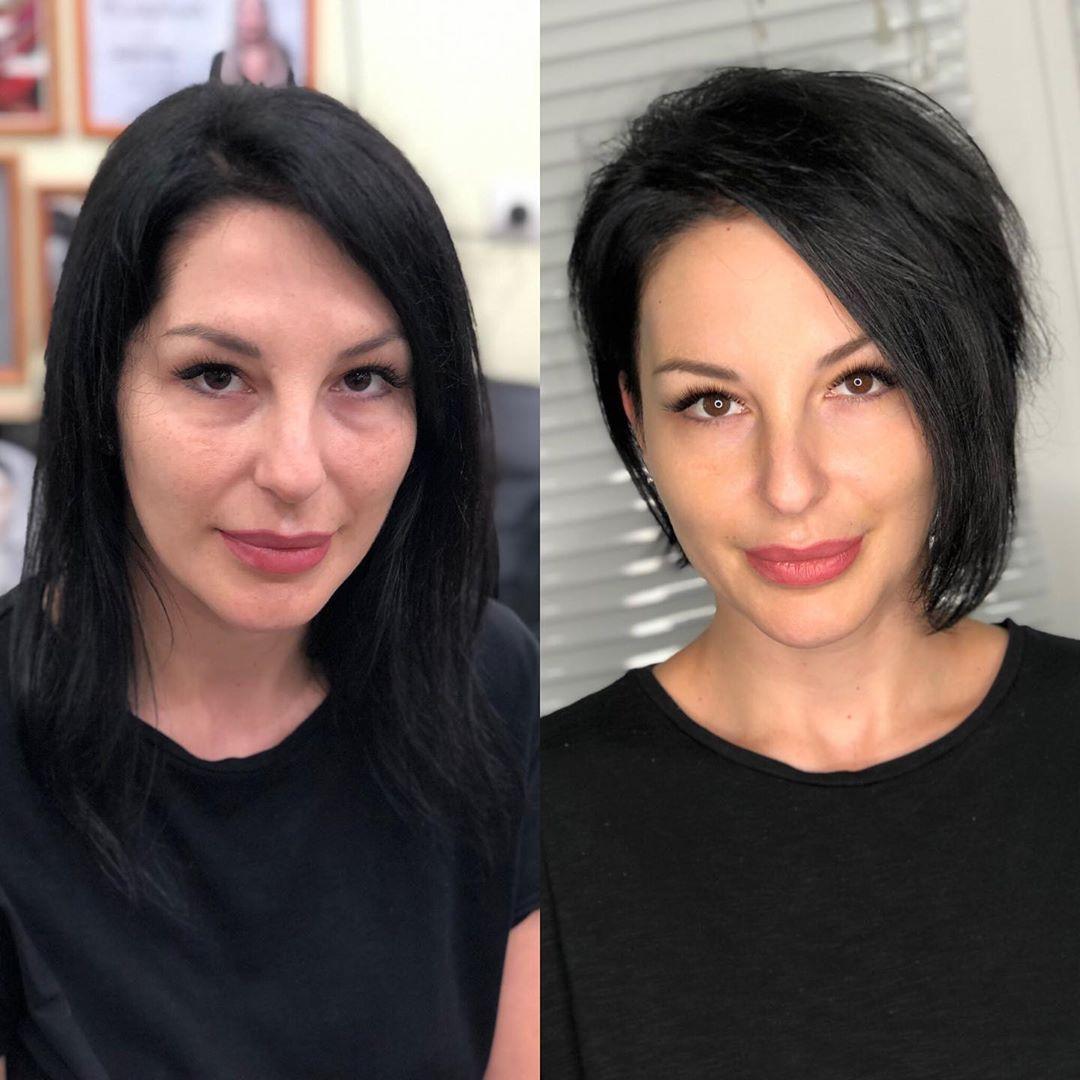 Стрижки после 40 лет на темные волосы 2019-2020 фото 4
