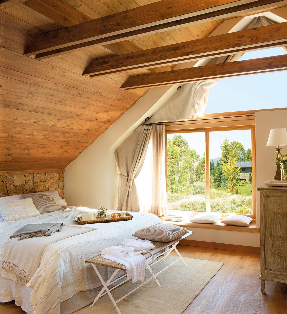 Идеи дизайна спальни на мансарде фото 15