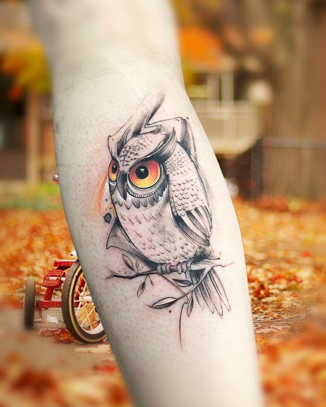 Татуировки с изображением совы фото 4