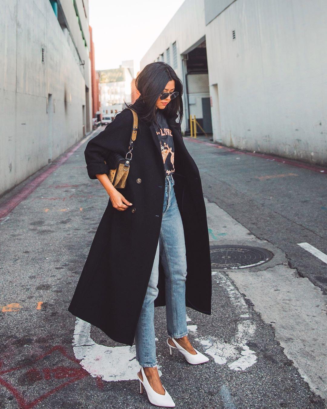 черное пальто 2020 фото 13