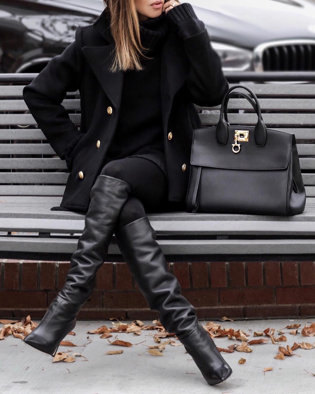 черное пальто 2020 фото 4