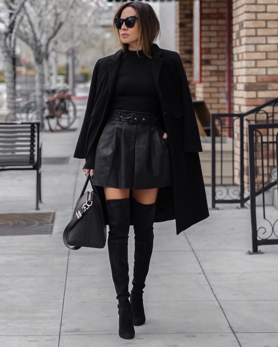 черное пальто 2020 фото 5