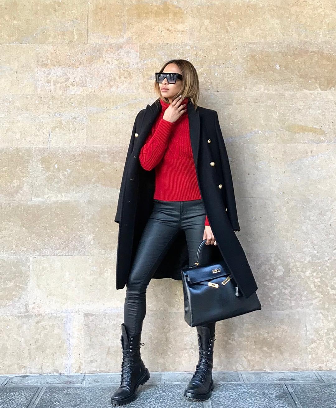 черное пальто 2020 фото 10