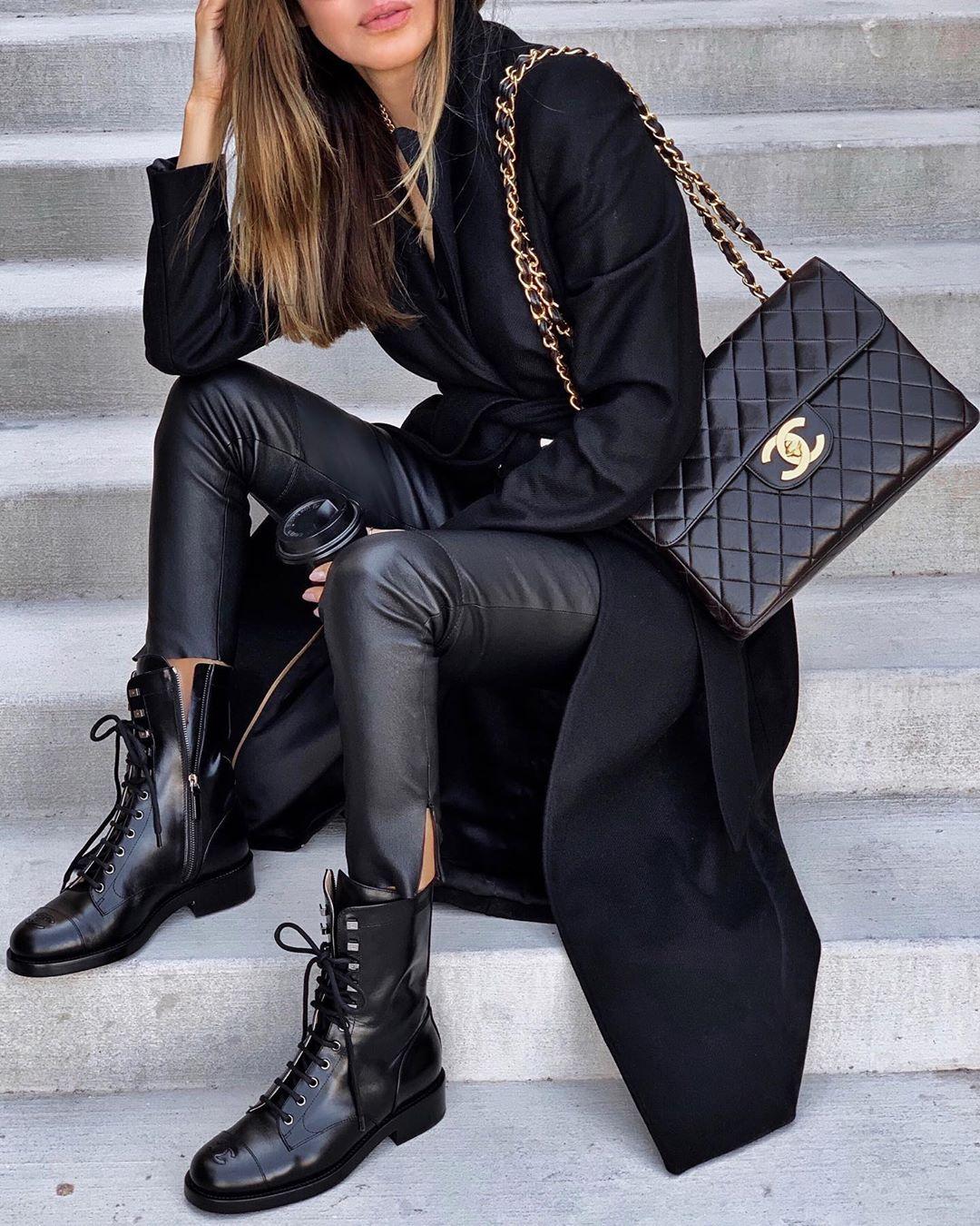 черное пальто 2020 фото 6