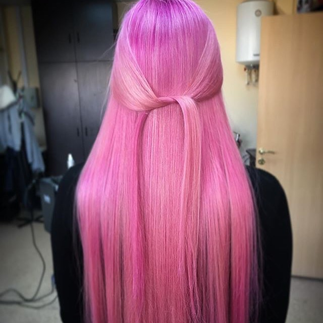 розовое окрашивание фото 9