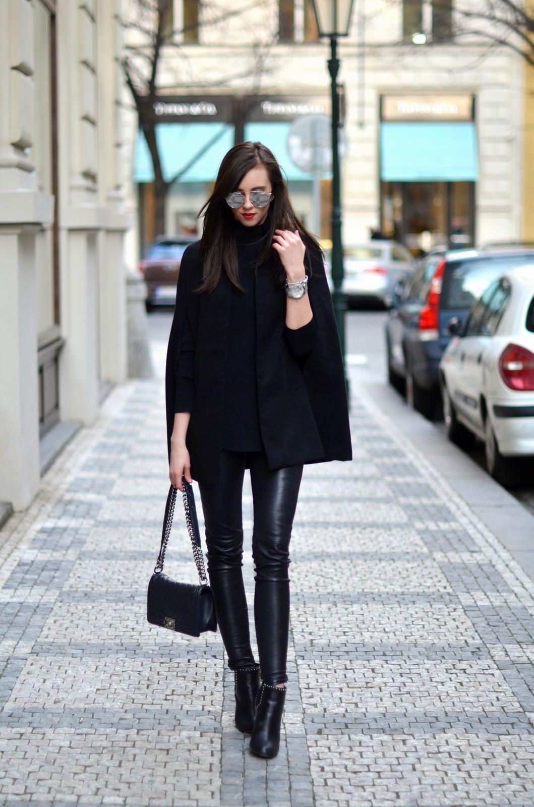 черное пальто 2020 фото 7