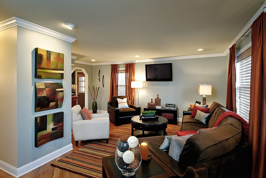 Идеи дизайна стен в гостиной комнате фото 8
