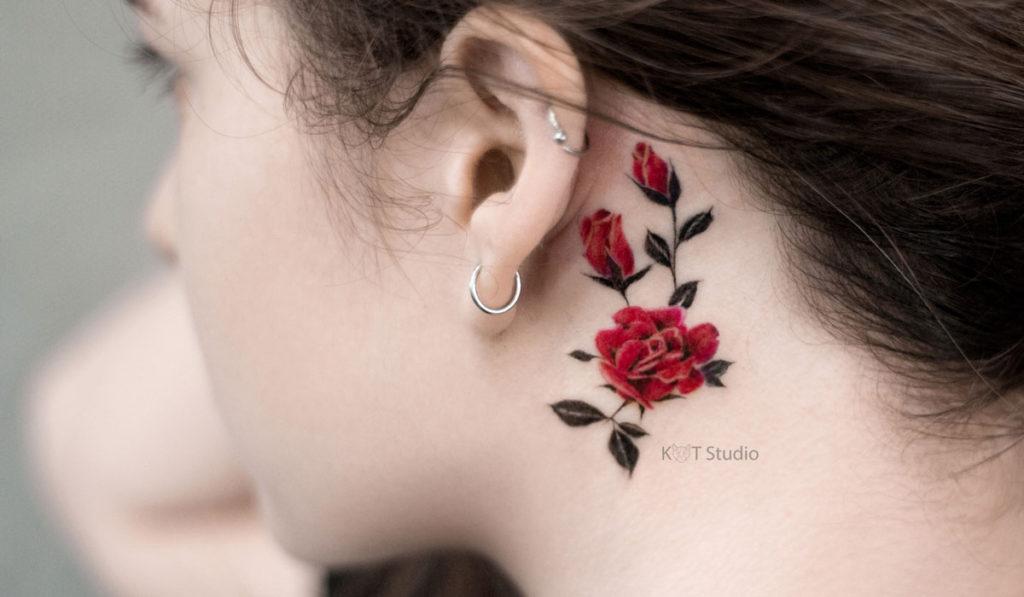 Татуировки за ухом фото 4