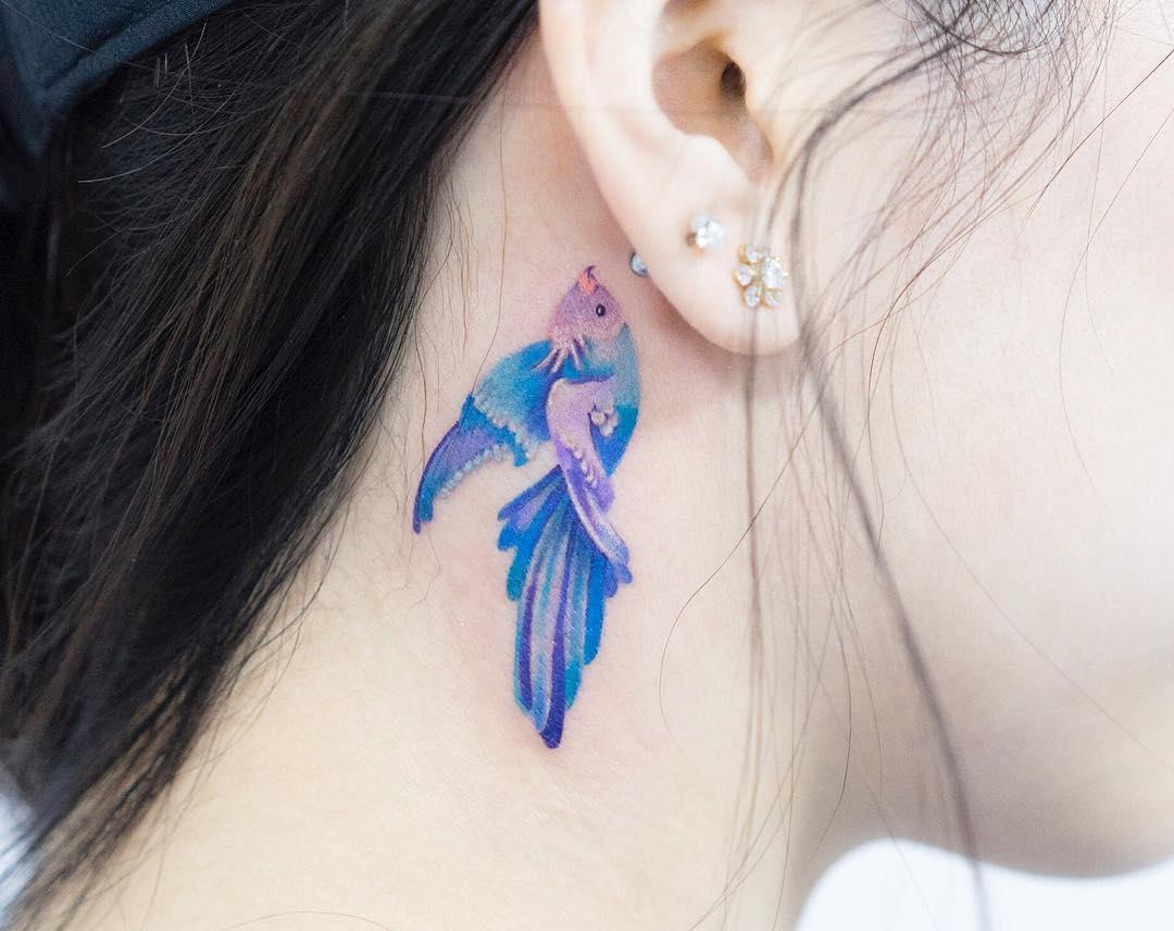 Татуировки за ухом фото 6