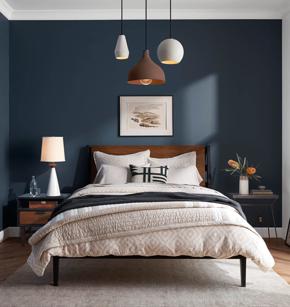спальня в тёмно-синих тонах фото 4