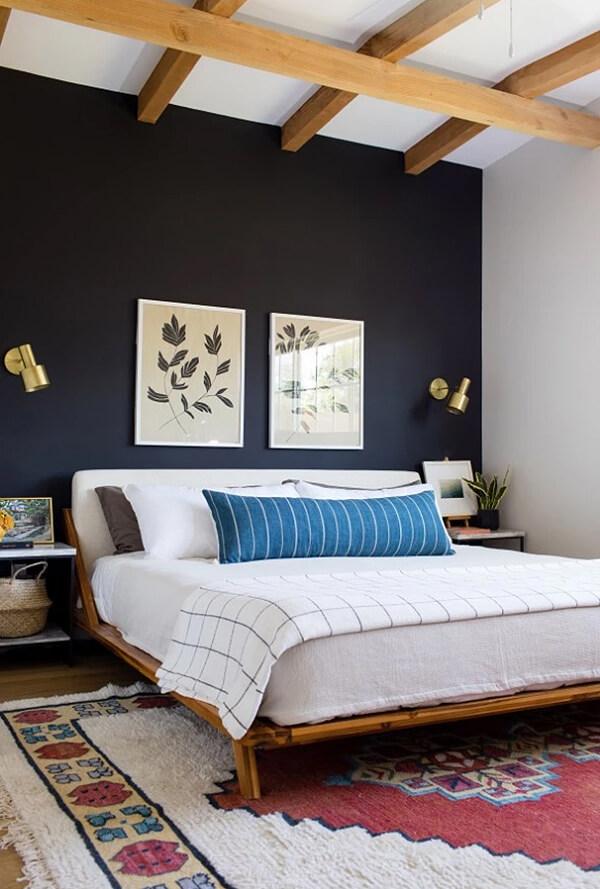 спальня в тёмно-синих тонах фото 5