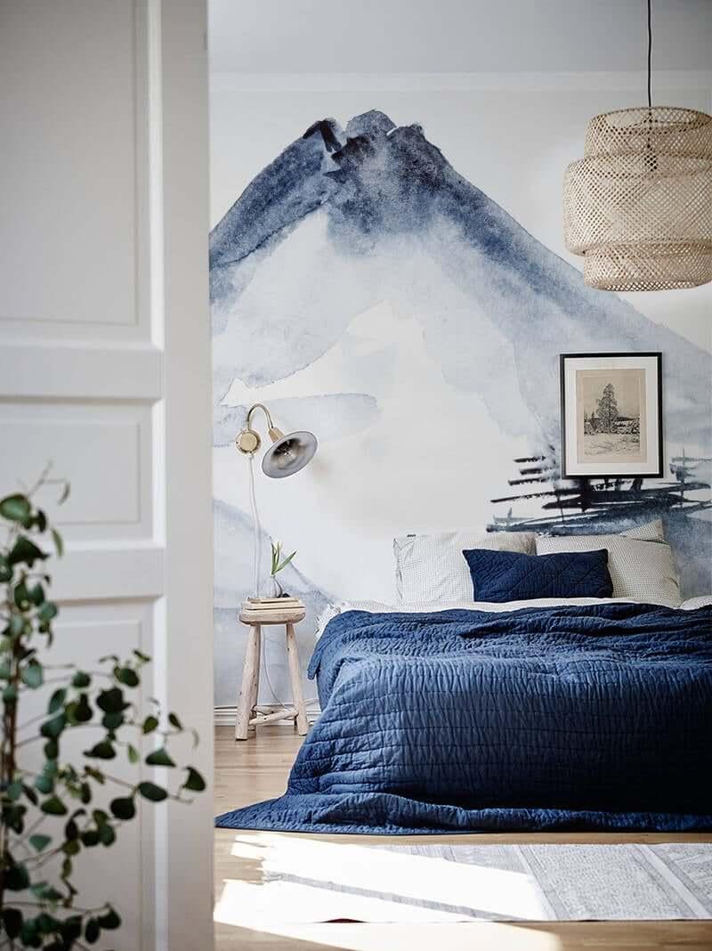 спальня в тёмно-синих тонах фото 11