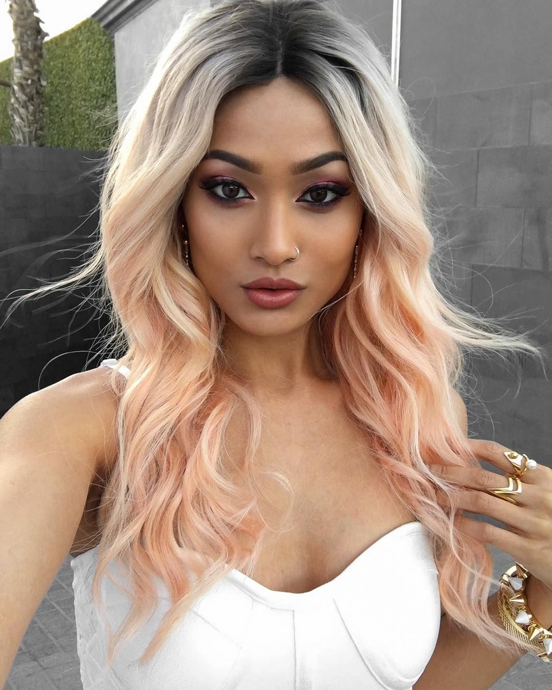 Персиковый оттенок волос фото 10