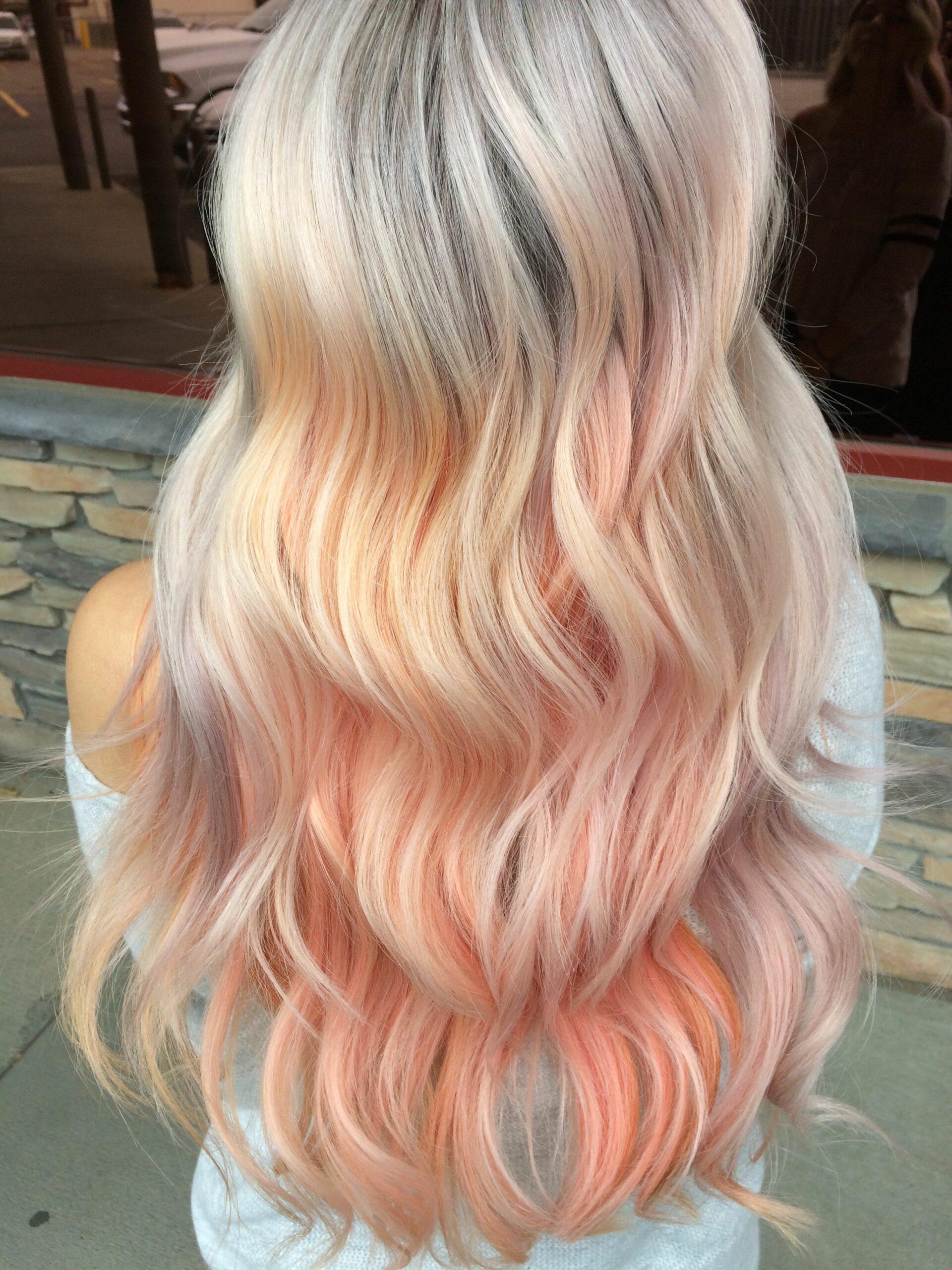 Персиковый оттенок волос фото 5