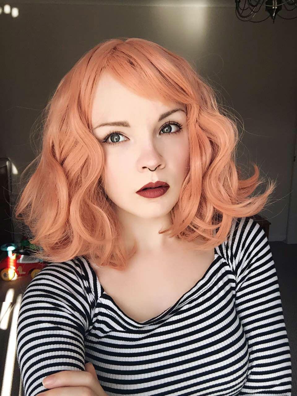 Персиковый оттенок волос фото 12