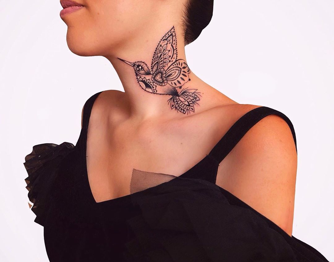 Татуировки на шее фото 2