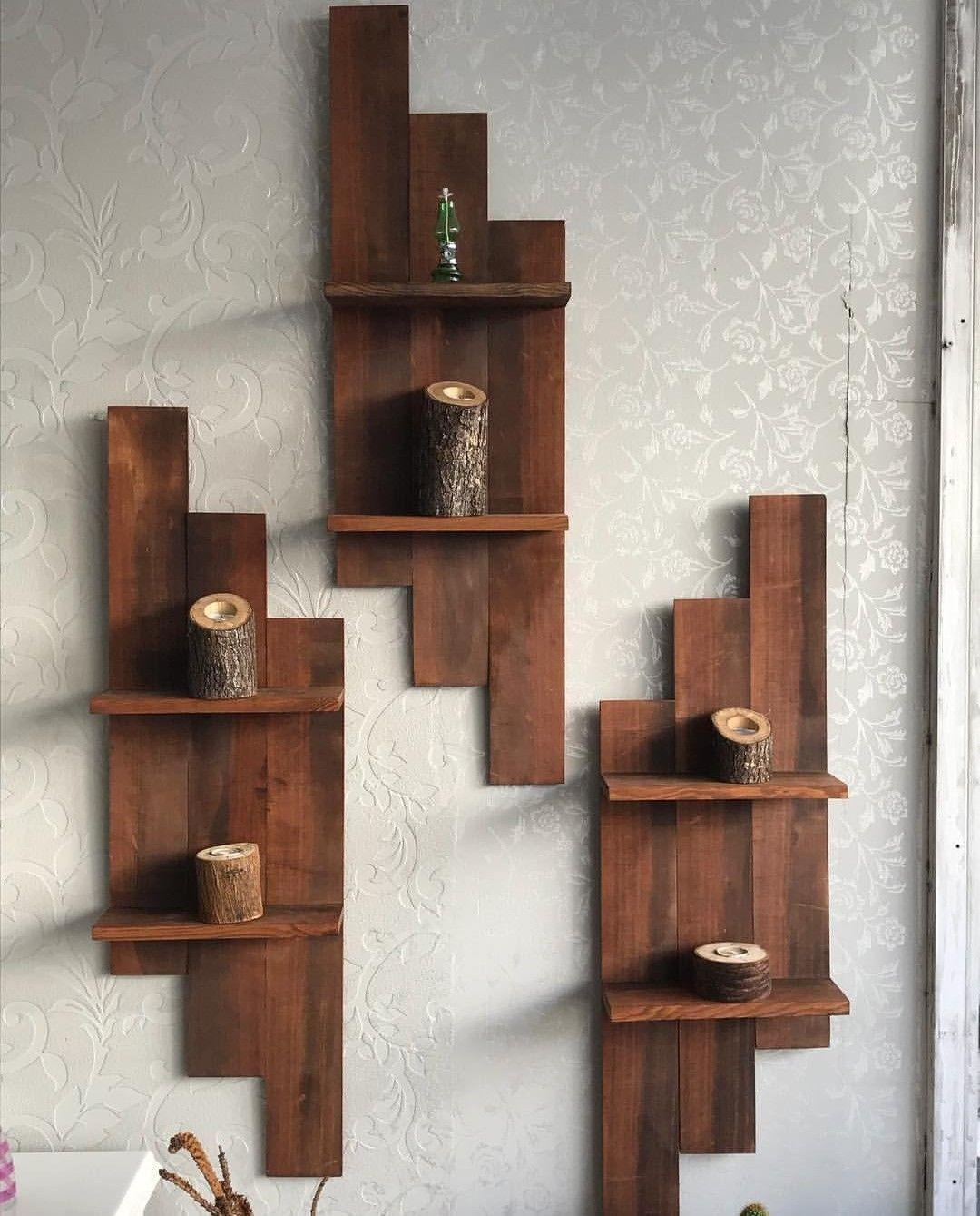 Настенные деревянные полки фото 12