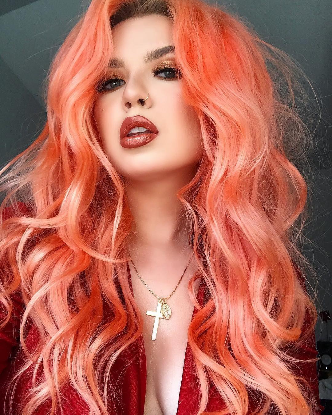 Персиковый оттенок волос фото 14