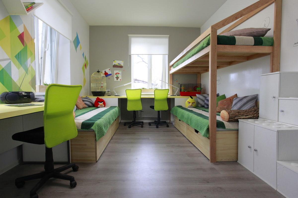 Комнаты для 3-х и более детей фото 30
