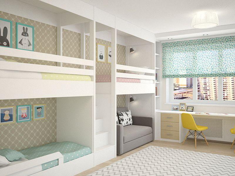 Комнаты для 3-х и более детей фото 34