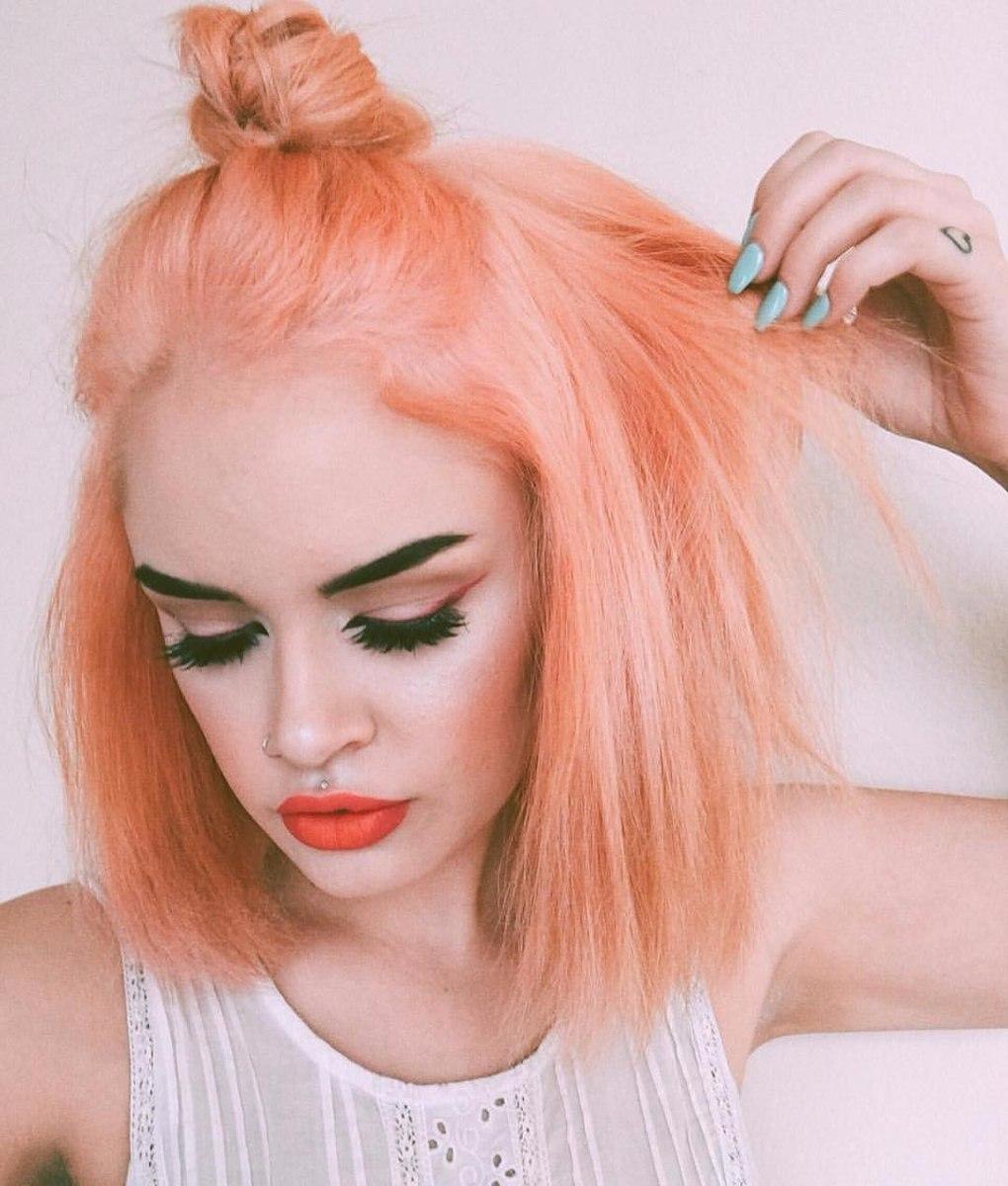 Персиковый оттенок волос фото 16
