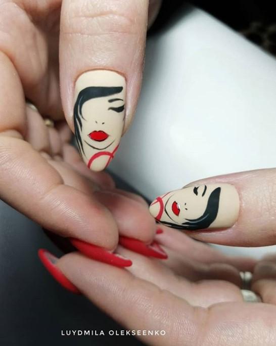 Девушка на ногтях фото 76