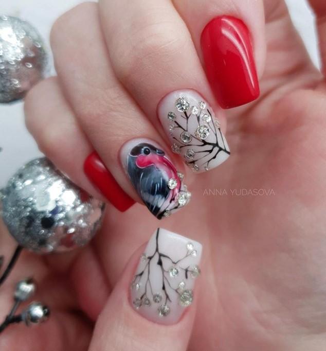 зимние птицы на ногтях фото 1