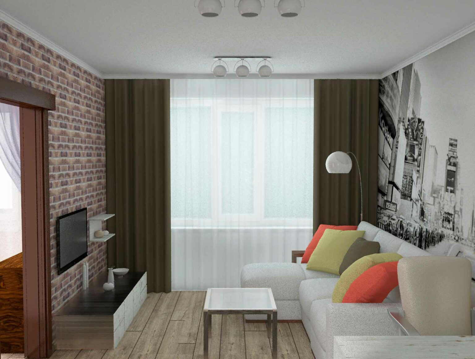 шифер, однокомнатная квартира угловая дизайн фото простые