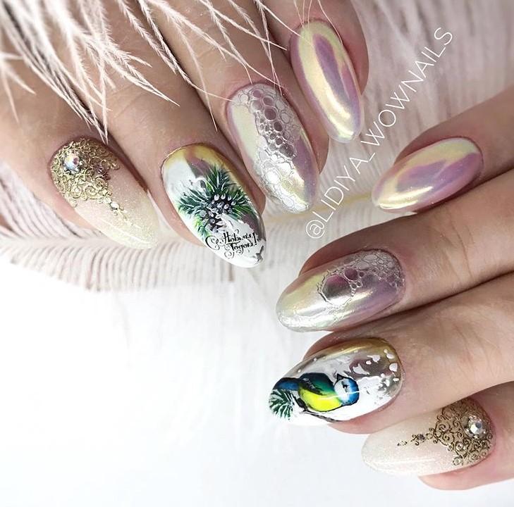 зимние птицы на ногтях фото 6