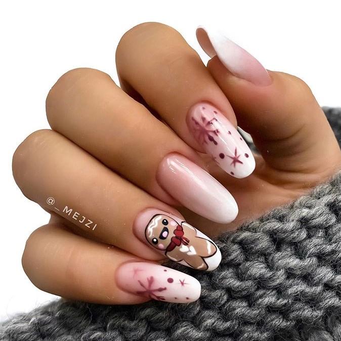 снежинки на ногтях фото 1
