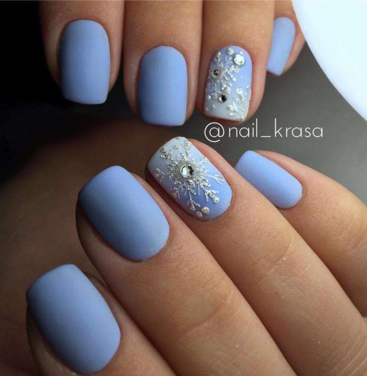 снежинки на ногтях фото 20