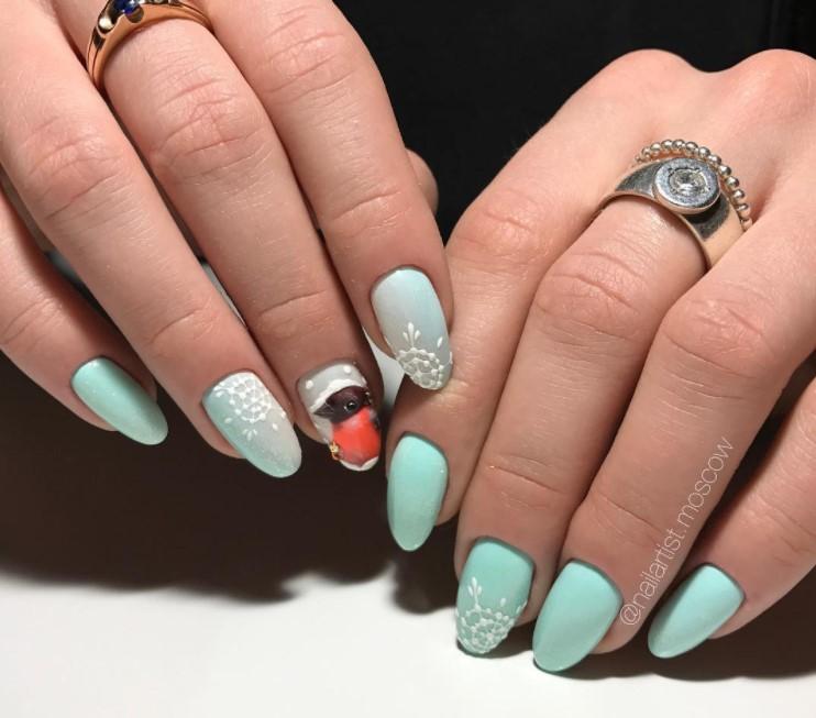 снежинки на ногтях фото 21