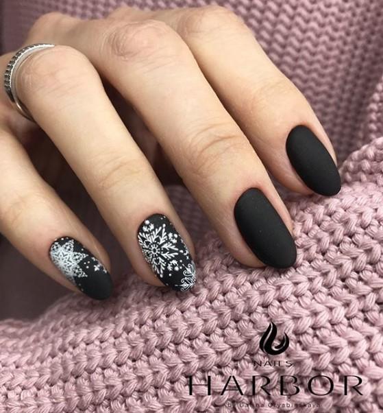 снежинки на ногтях фото 22