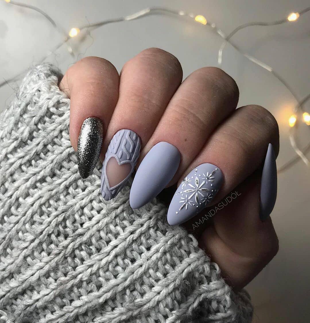 снежинки на ногтях фото 25