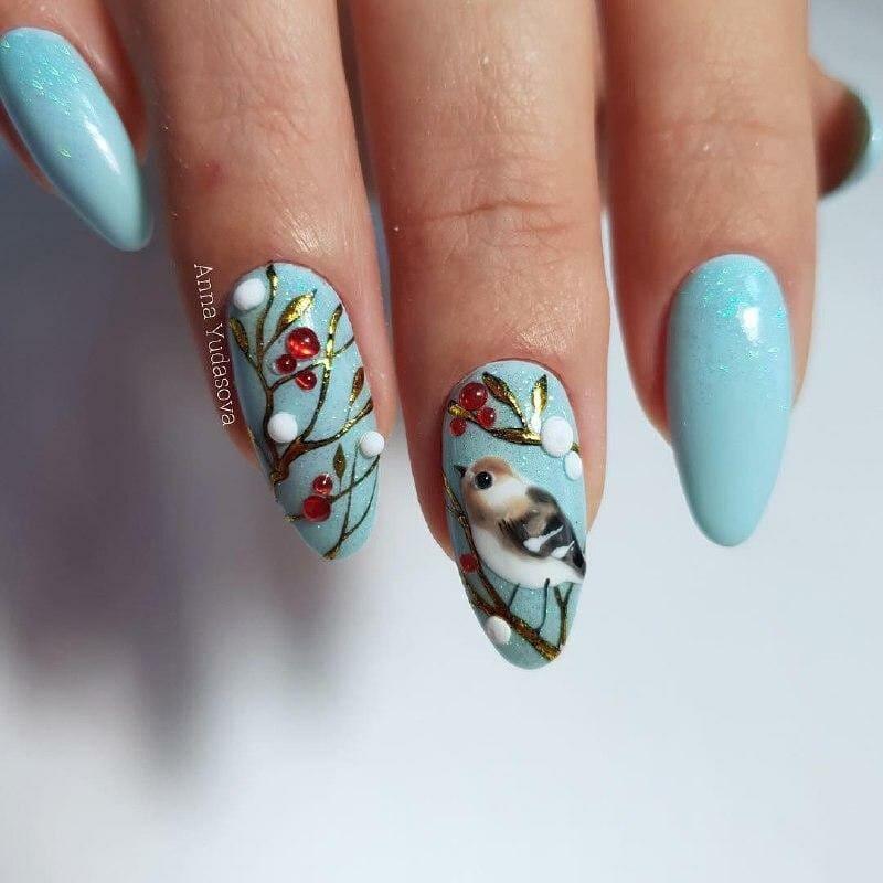 зимние птицы на ногтях фото 4