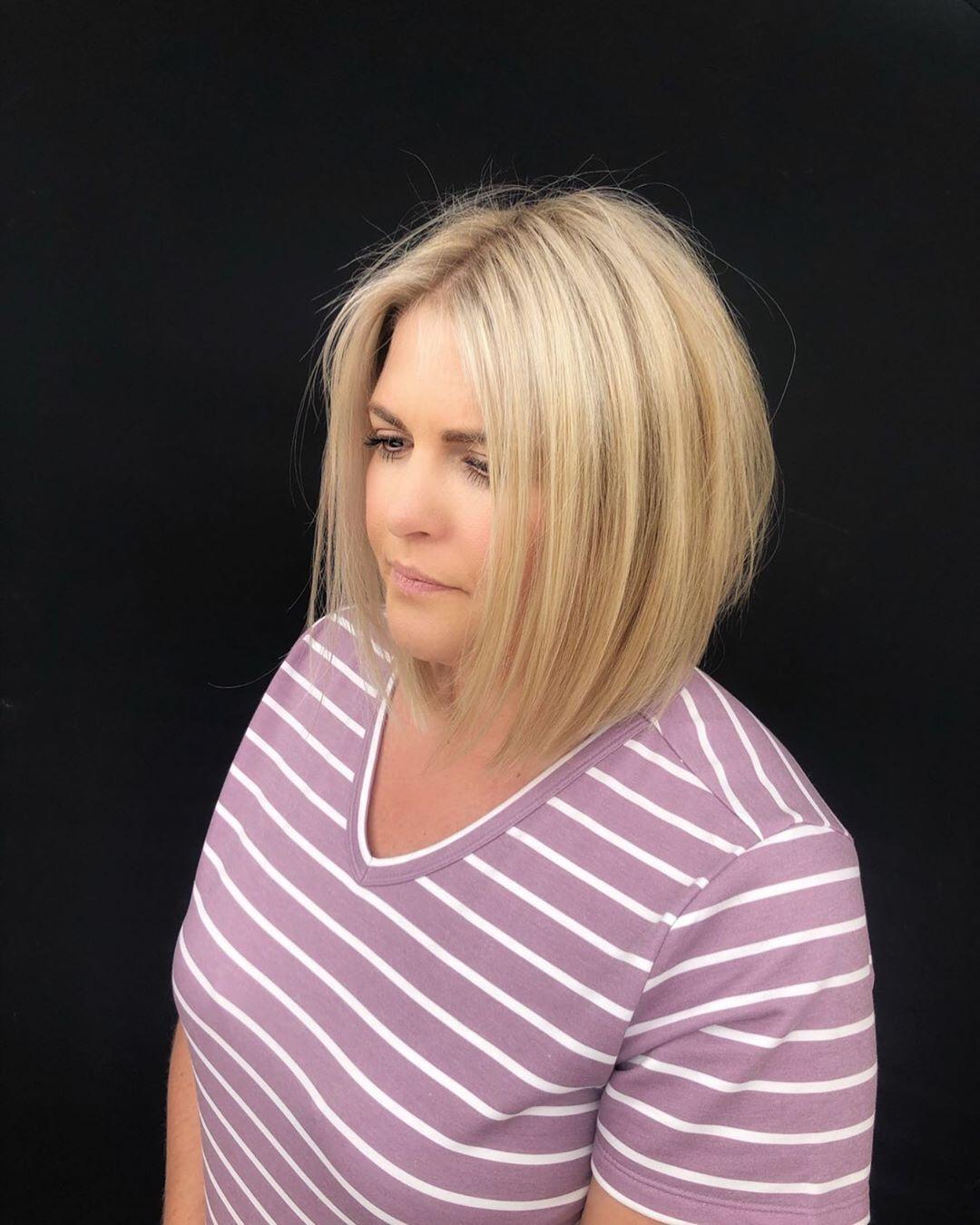 Стрижки после 40 лет на средние волосы для полного лица фото 6