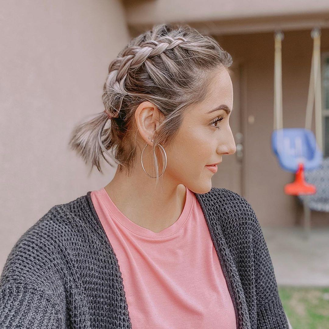 плетёные причёски для коротких волос фото 2
