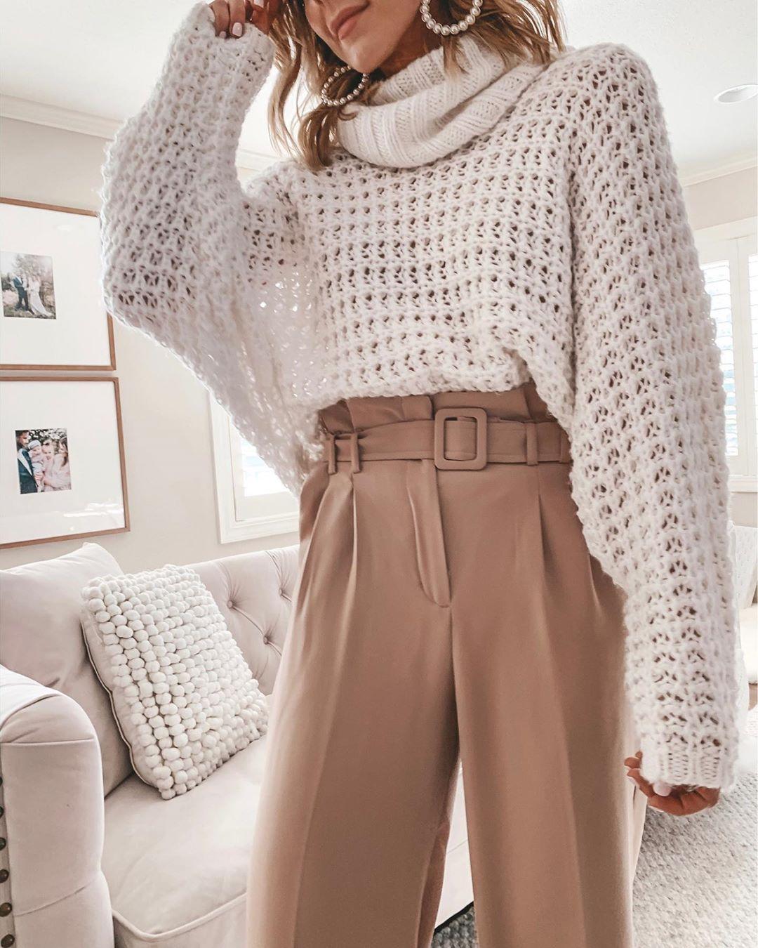 Белый свитер фото 28