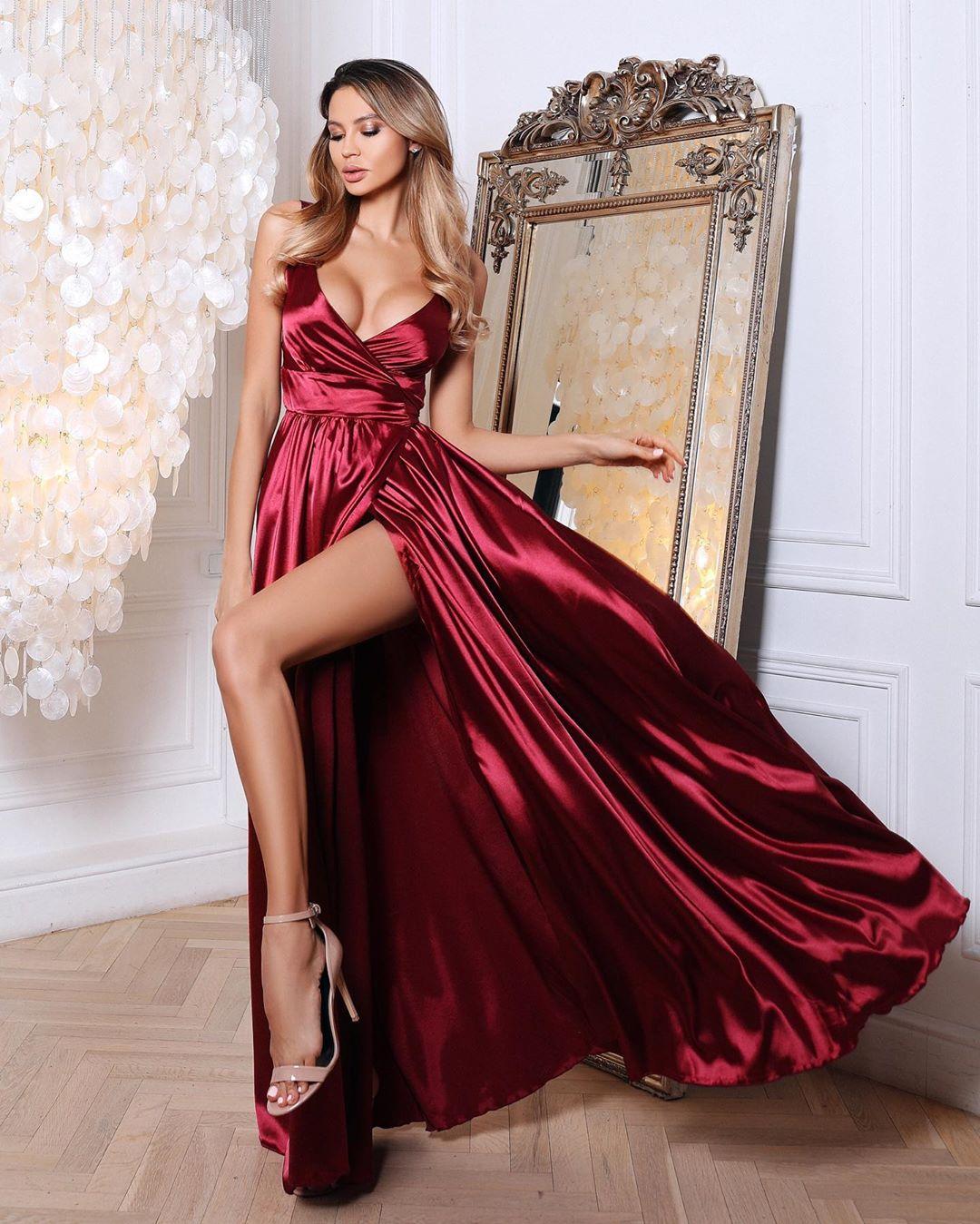 атласное платье фото 7