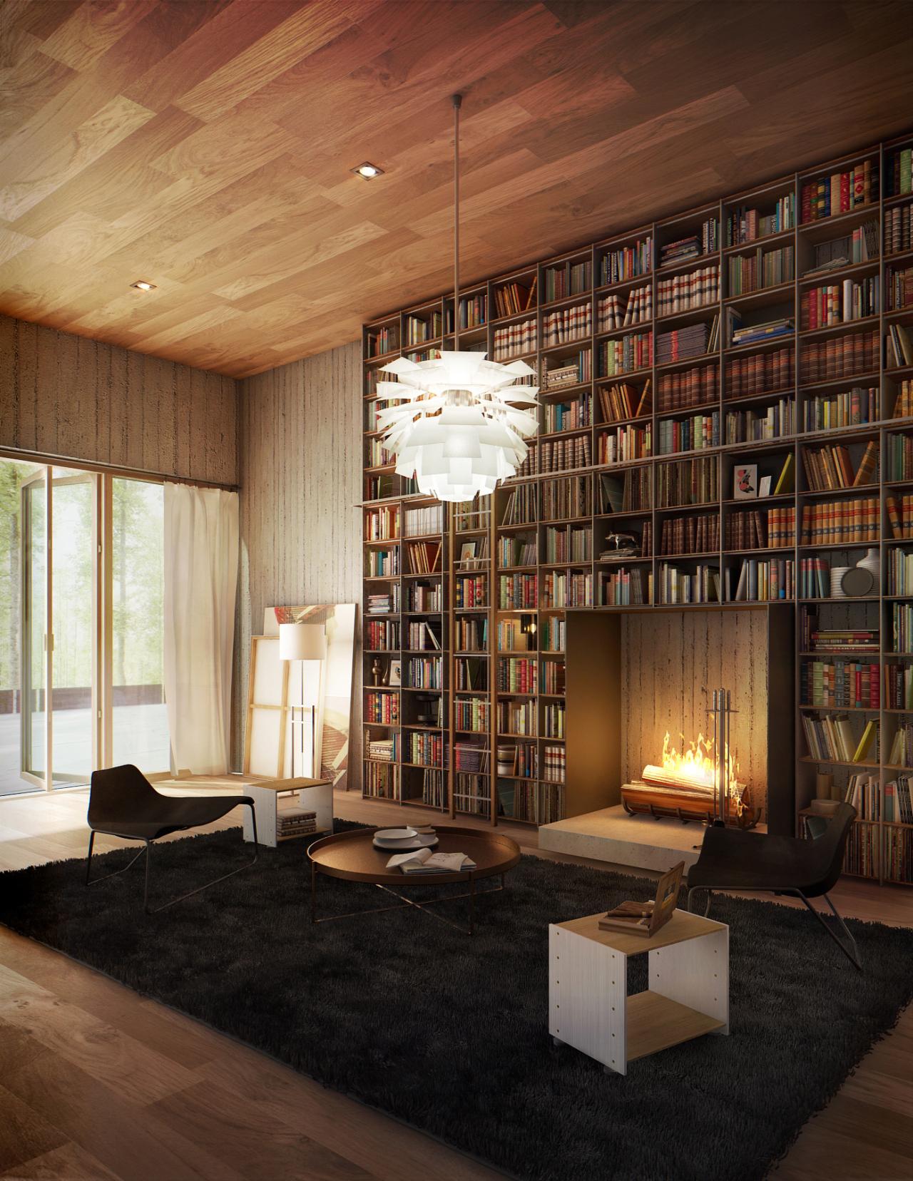 дизайн домашней библиотеки фото 10