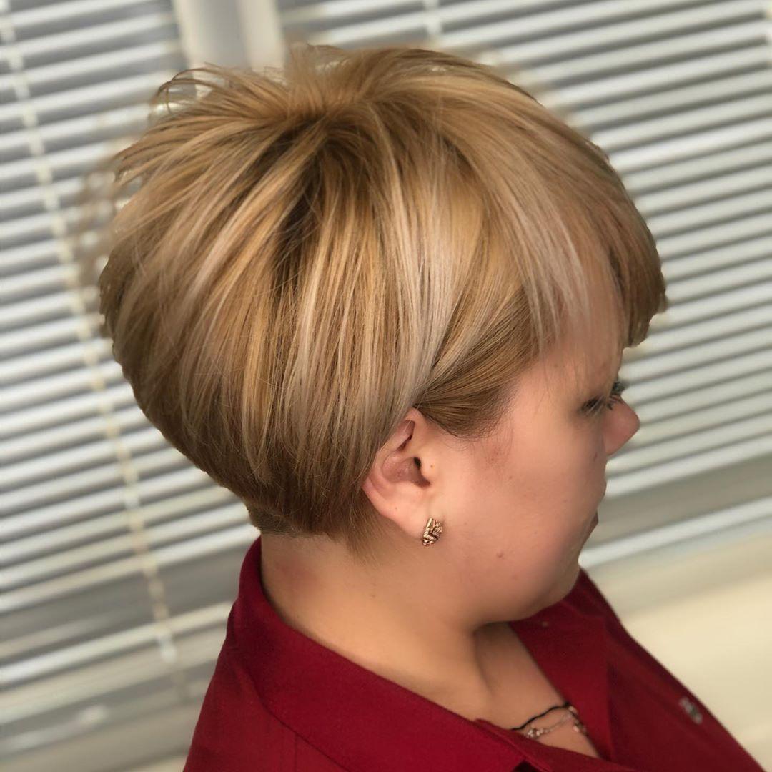 Стрижки после 40 лет на короткие волосы для полных 2020 фото 5