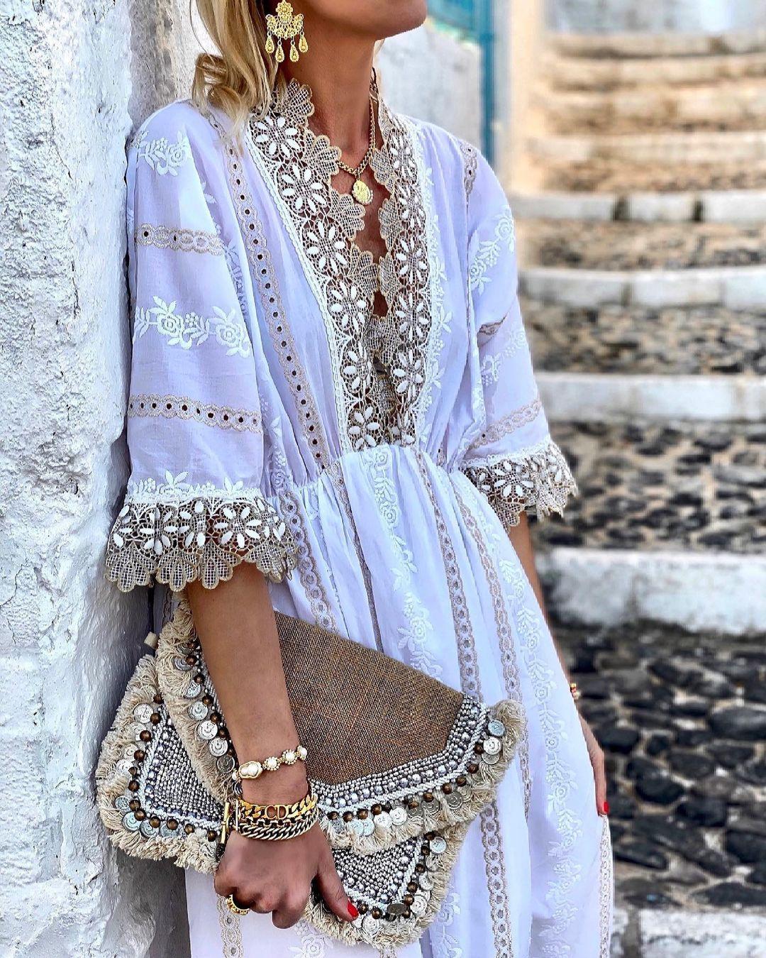 Как носить платье бохо: 13 модных примеров и особенности фасона